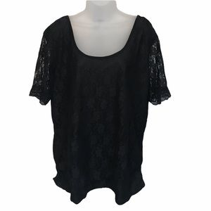🔥Black Lined Lace Ruched Blouse
